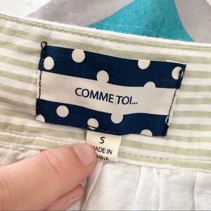 Comme Toi Skirts - COMME TOI Green and White Striped A-Line Skirt